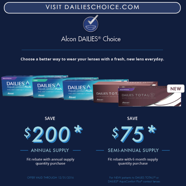 Alcon Dailies Rebate Until December 2016